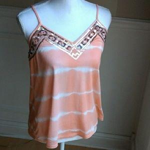 New Express orange tie dye beaded tank top